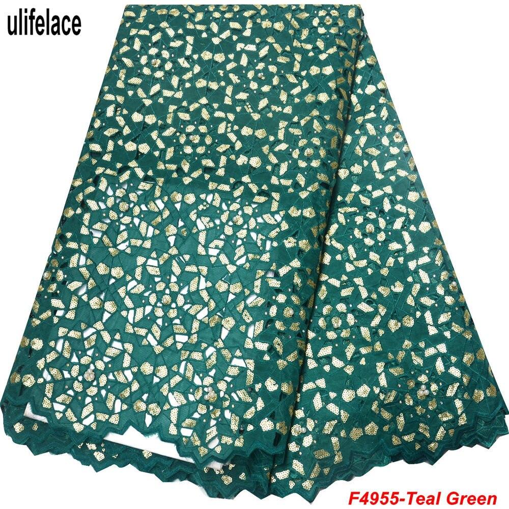 Verde azulado color encaje de organza Sequins tela respetuosa del medio ambiente doble Organza de encaje francés de alta calidad de Nigeria telas de encaje F4-955