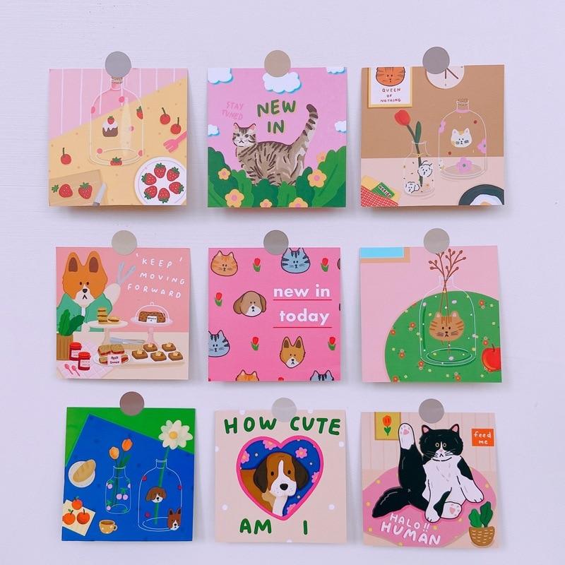 Японские комиксы, карточка с кошкой открытки, украшение на стену, наклейки, фотореквизит, открытки, водонепроницаемые маленькие постеры, де...