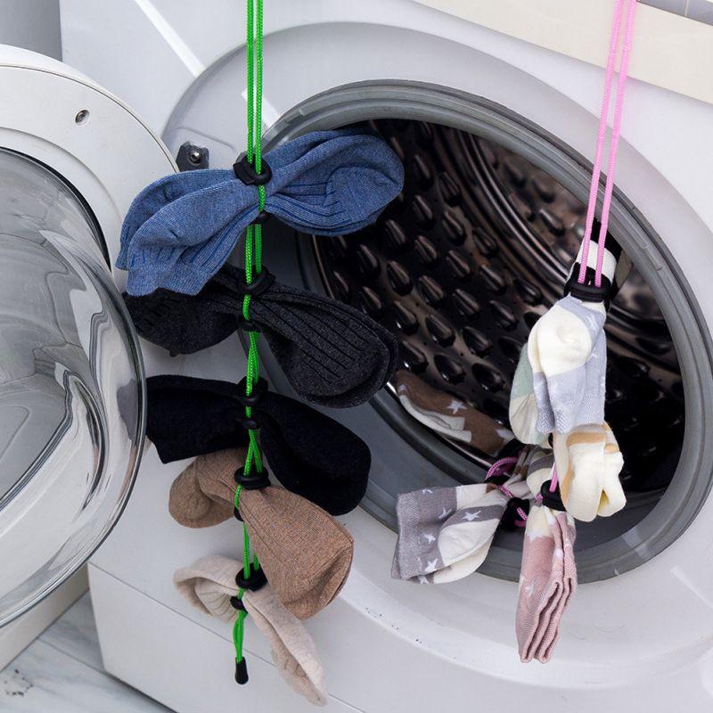 Organizador de calcetines de plástico, tendedero de almacenamiento, gancho auxiliar para lavandería, cuerda colgante de calcetín para armario de lavandería