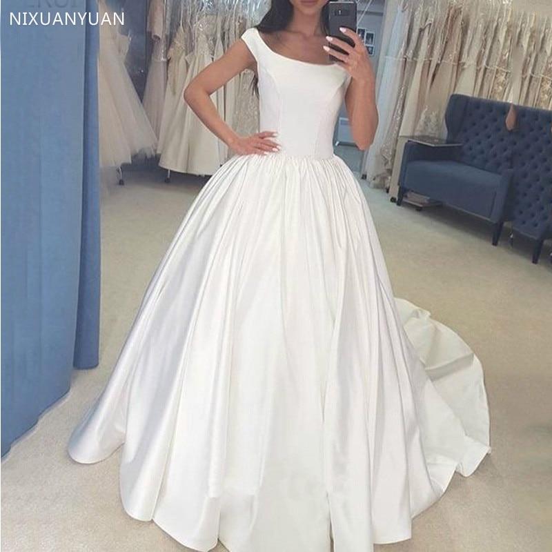 فستان زفاف ساتان أبيض عاجي ، أكمام رأس ، ثوب كرة أميرة ، دانتيل في الخلف ، فساتين زفاف