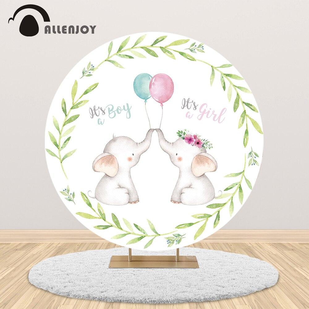 Allenjoy fondo redondo de fiesta de ducha de bebé niño o niña círculo cubierta globo de elefante hoja estandarte de fotomatón foto de fondo