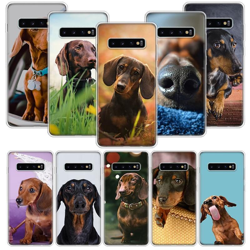 Dachshund Teckel Dackel perro caso para Samsung Galaxy S20 Ultra Nota 10 9 8 S10E S9 S8 J4 J6 J8 Plus + Pro Lite S7 teléfono Coqu