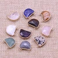 1pcs natural stone semicircle charms lapis lazuli damation jaspers pendants for earring necklace bracelet jewelry making 17x18mm