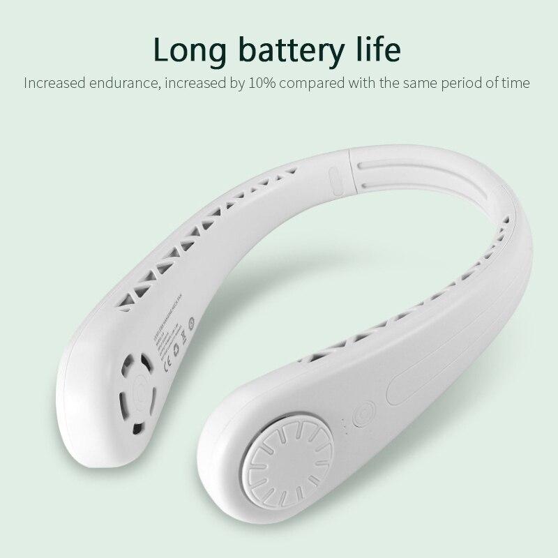Miniventilador sin aspas para el cuello, 1600mAh, recargable por USB, silencioso, para...