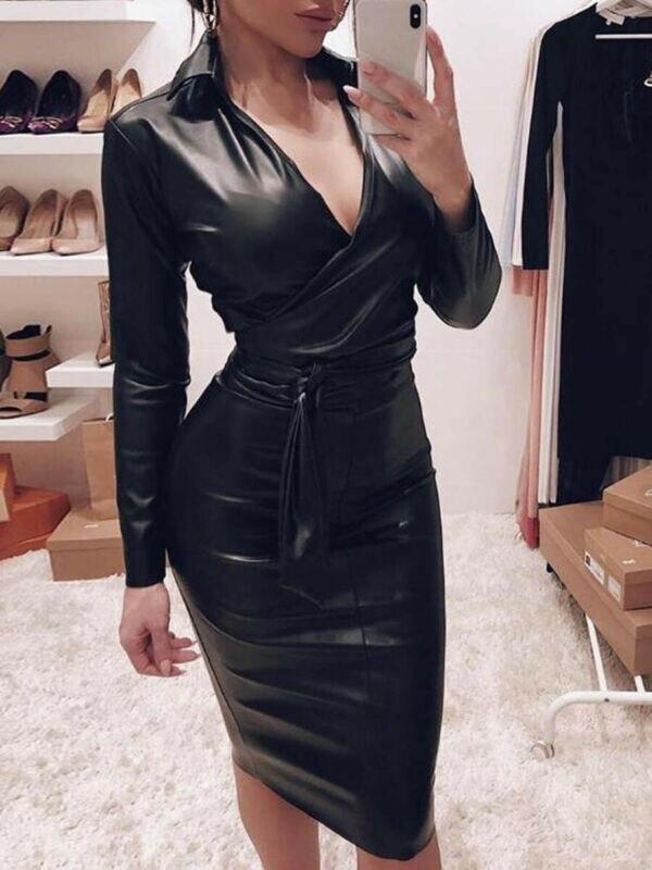 New Fashion Women Ladies Slinky PU Leather Long Sleeve Midi Dress Sexy Bodycon V Neck Party Wrap Dress Black