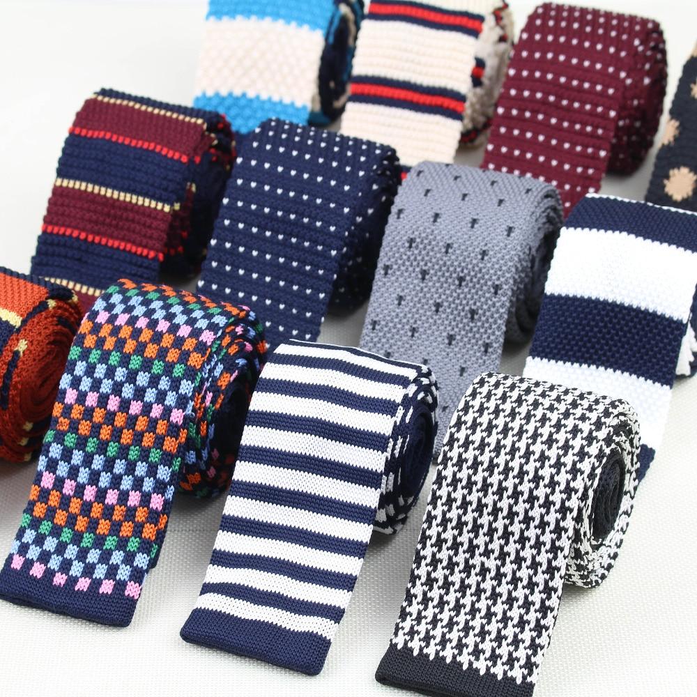 Men's Knitted Knit Leisure Striped Tie Fashion Skinny Narrow Slim Neck Ties For Men Skinny Woven Designer Cravat недорого