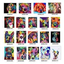 Couleur chien série peinture à la main numéro bricolage peinture à lhuile par numéros kit peinture toile peinture par numéros pour enfants adultes art peinture