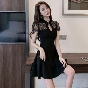 Lace dress summer 2021 new large women's cheongsam modified Hepburn retro skirt small black skirt high waist