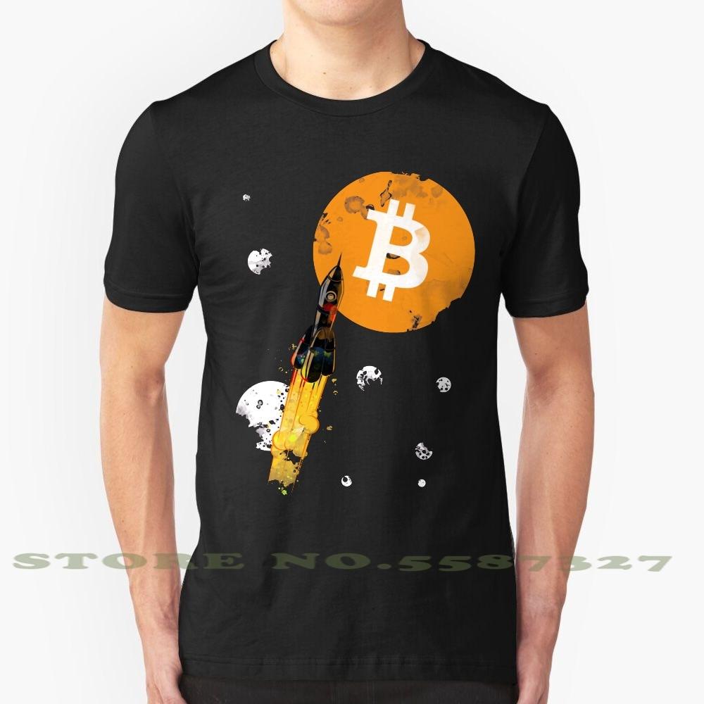Hasta la luna ropa de edición Bitcoin. Camiseta blanca y negra para hombre y mujer, cohete, cielo, Luna, espacio, sol, criptomoneda, Altcoin