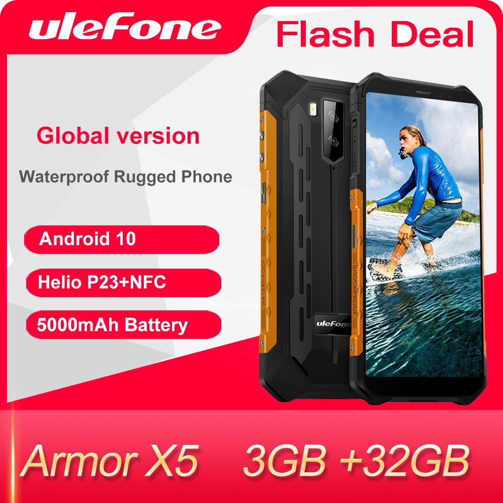 Ulefone Armor X5-الهاتف المحمول المتين الذكي بنظام أندرويد 10, ثماني النواة، NFC IP68، 3 جيجابايت 32 جيجابايت 5000 ميجا أمبير في الساعة، هاتف خلوي الجيل الرا...
