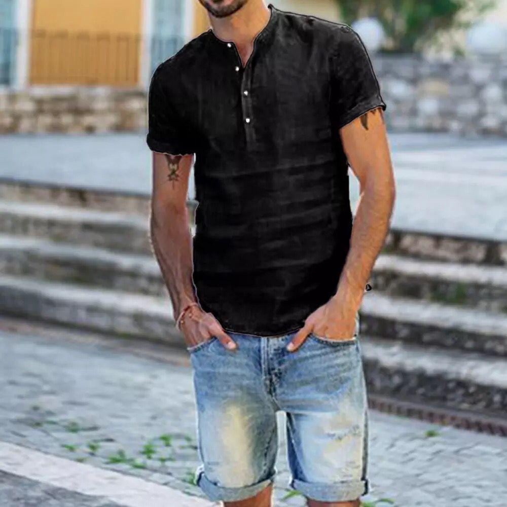 Мужской пуловер, топы, блузка, мужские льняные рубашки с коротким рукавом, дышащие мужские Мешковатые повседневные рубашки, приталенные одн...