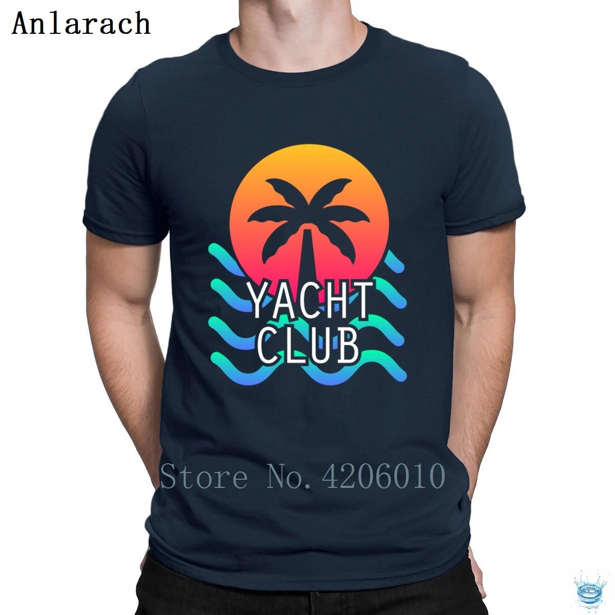 Яхт-клуб эстетику Vaporwave Vibes футболки Повседневное Фитнес одежда Демисезонный футболка для Для мужчин с круглым вырезом Личность