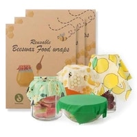 reusable beeswax cloth wrap food fresh bag lid cover stretch lid jungle party bees wax wrap