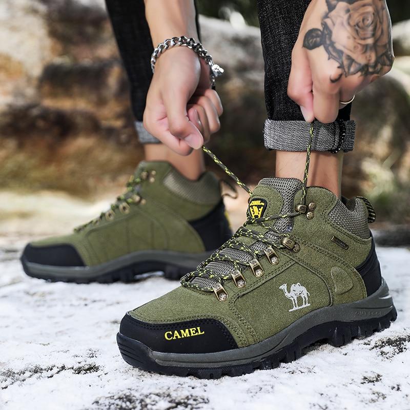 Зимняя мужская походная обувь, уличная Нескользящая Спортивная мужская обувь для пересеченной местности, походная тренировочная обувь, ар...