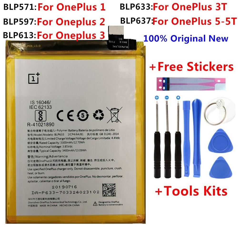 100%, batería de repuesto Original para Oneplus one 1 + One plus para OnePlus 2 3 1 + 3 One Plus 3 3T 5 5T, baterías de ion de litio de calidad