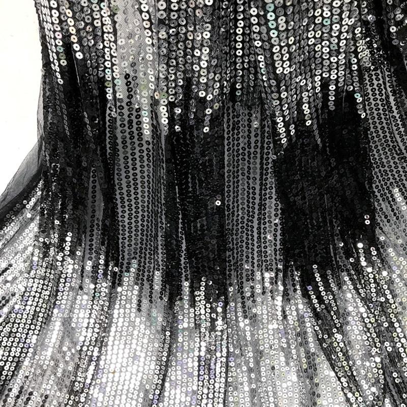 Exclusivo punto de onda brillante lentejuelas tela de encaje tejido francés tul encaje boda Nigeria tela vestido accesorios 91*130cm