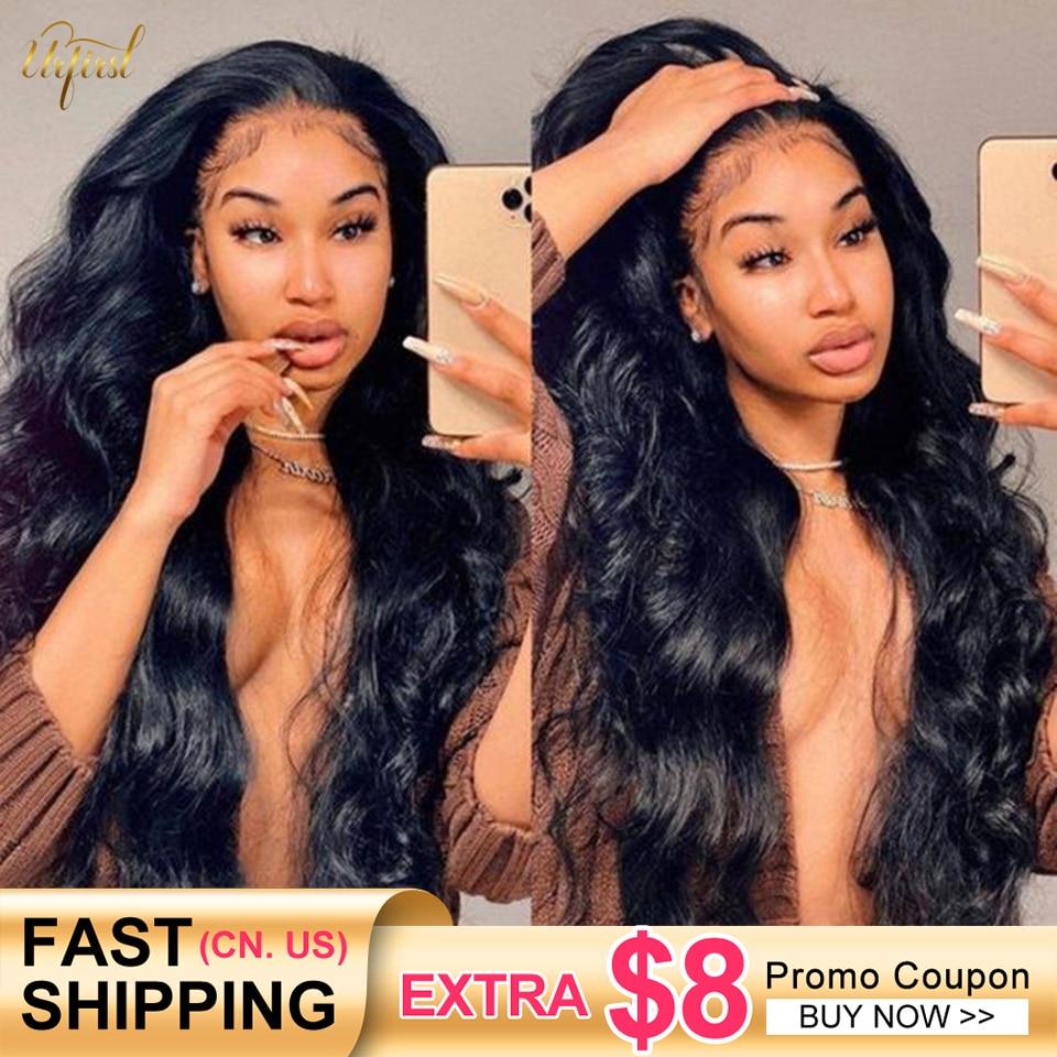 Peluca de cabello humano ondulado transparente para mujeres negras, malla Frontal de encaje malayo 13x4, Remy, prearrancado