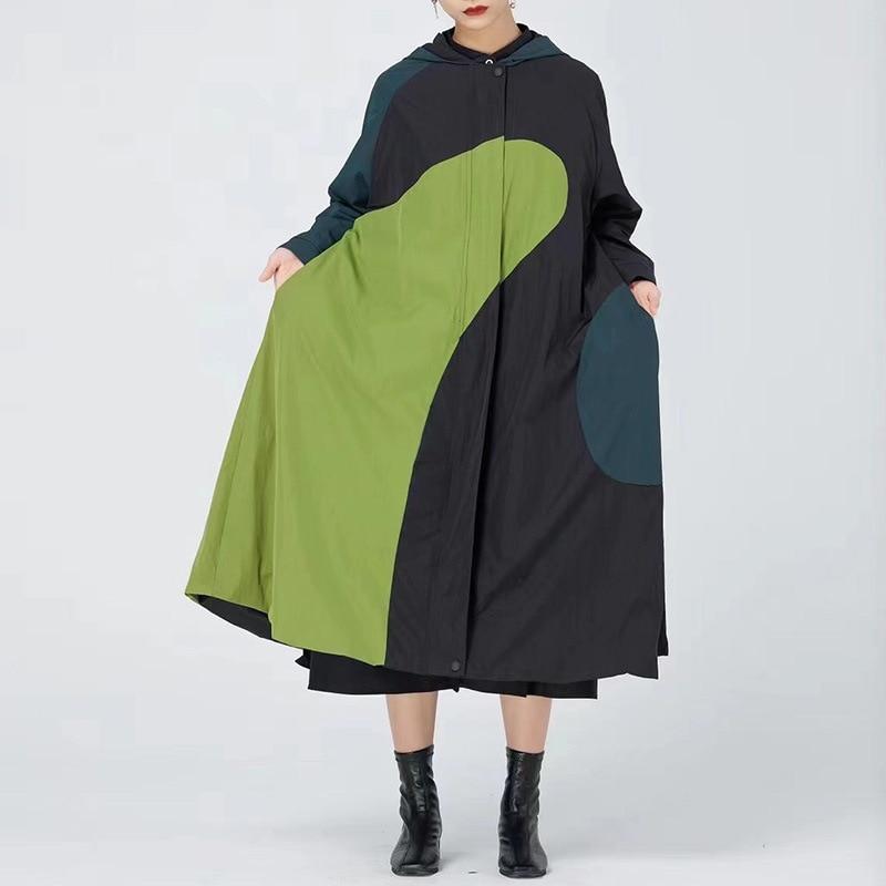 معطف واق من المطر للنساء معطف طويل بقلنسوة موضة خريف 2021 معاطف واقية من الرياح للنساء
