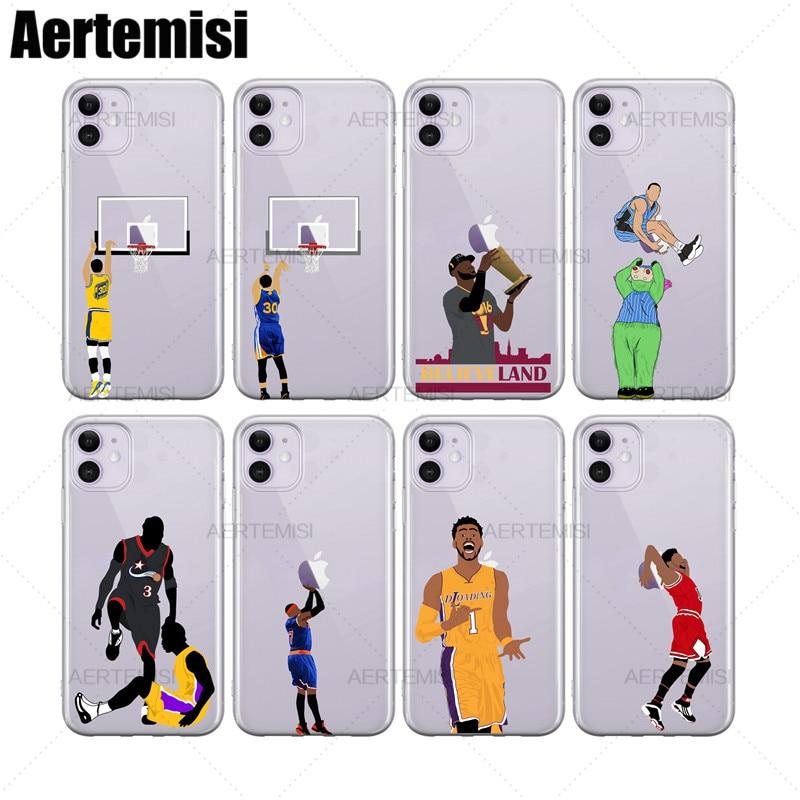 Aertemisi чехол для телефона s Stephen Curry LeBron James Aaron Gordon прозрачный TPU чехол для iPhone 6 6s 7 8 Plus X XS XR 11 Pro Max