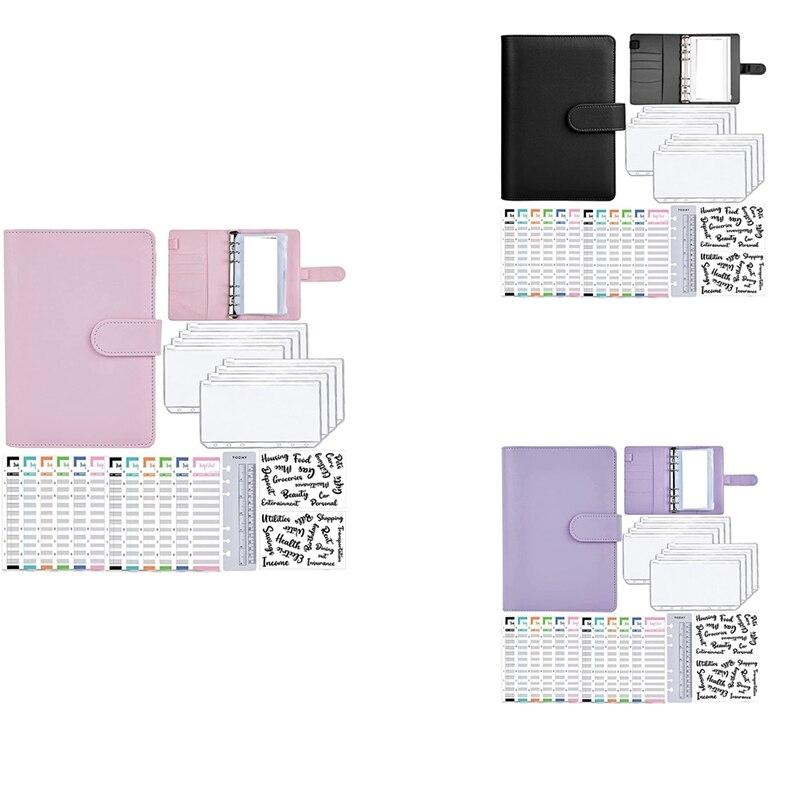 A6 Cash Envelopes Binder Wallet,PU Budget Planner Notebook for Cash Budgeting,Envelope Wallet,Savings Money Binder