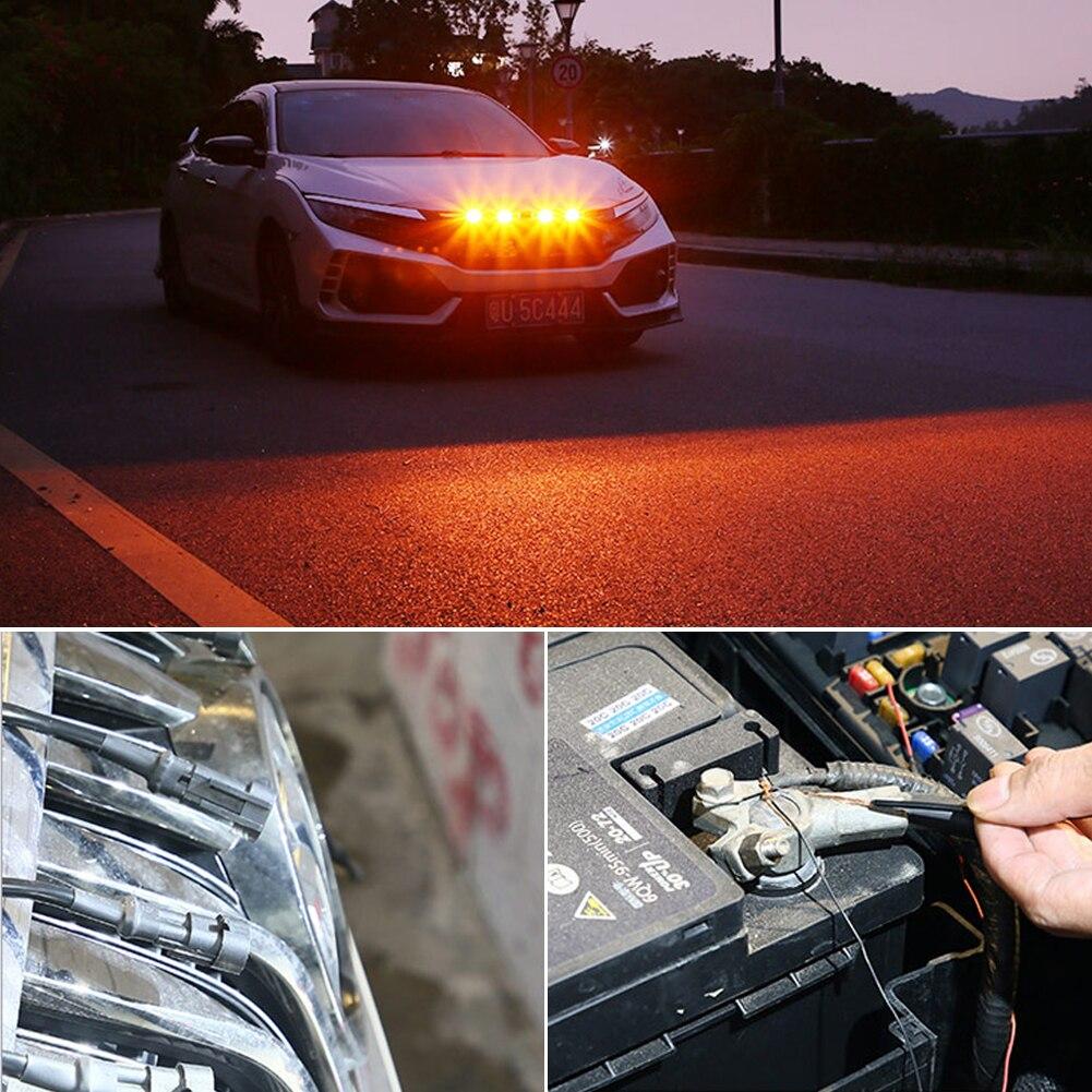 Продажа 4 шт. Янтарный 12В автомобилей светильник решетка Предупреждение сигнал светодиодный мигает вождения светильник дневного светильни...