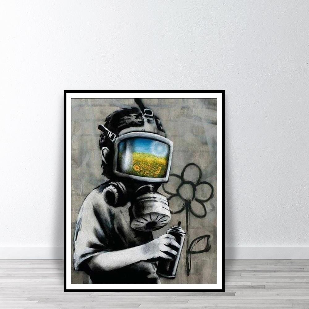Máscara de campo de girasol, arte de pared, Impresión de calle, Graffiti, pintura en lienzo, carteles y impresiones de decoración, carteles para decoración para sala de estar