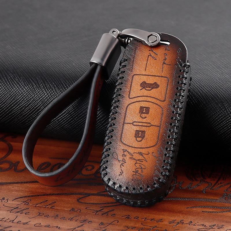 Accesorios para el coche de cuero genuino para coche, funda para llave remota para Mazda 2 3 5 6 8 CX7 CX5 CX9 MX5 CX4