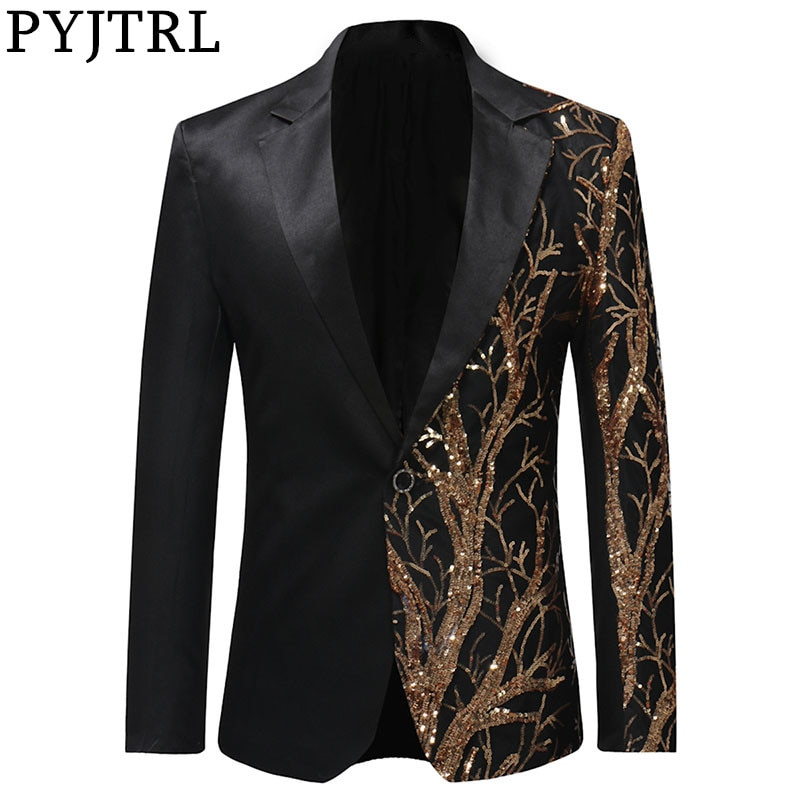 PYJTRL Tide Mens Gold Sequins Slim Fit Black Balzer Hip Hop Stage Singers Prom Dress Suit Jacket Party Jacket Men
