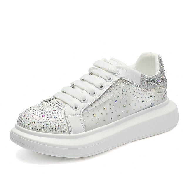 AIYUQI Sneakers Shoes Women White 2021 Summer New Breathable Rhinestone Women Shoes Casual Korean Fashion Shoes Women 4
