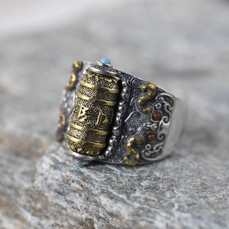 FNJ-خاتم من الفضة الإسترليني عيار 925 للرجال ، خاتم قابل للتعديل ، أصلي 100% ، فضي ، متين ، بانغك ، دوار ، بوذا