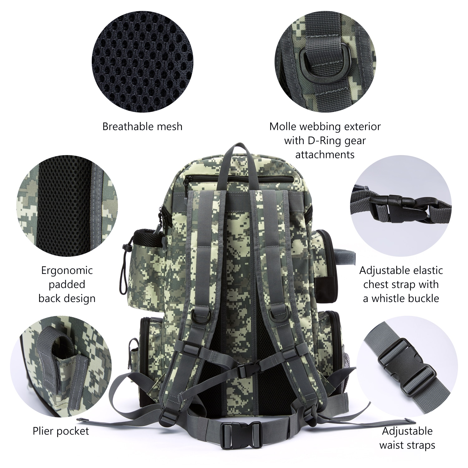 Water Resistant Tackle Backpack with Detachable Insulated Lunch Bag,Lightweight Backpack with Rod Holder and Rain Cover enlarge