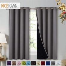 NICETOWN-rideaux occultants complets   1 pièce, rideaux complète à doublure noire, Super épais, isolés, Draperies complètes