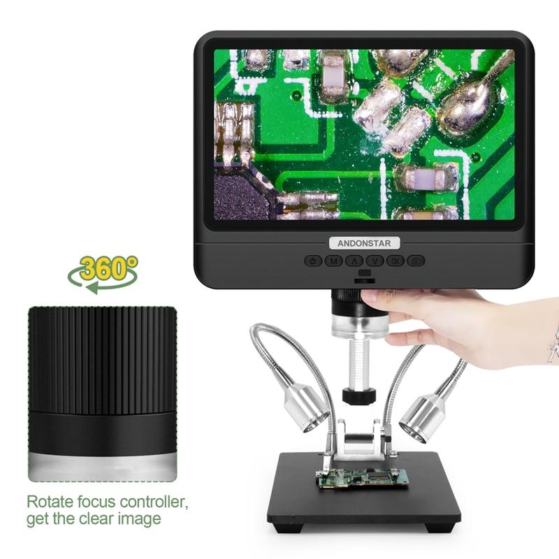 Andonstar مجهر 8.5 بوصة شاشة الكريستال السائل 5X-260X قابل للتعديل المجاهر الرقمية 1080P نطاق SMT إصلاح الهاتف أدوات لحام