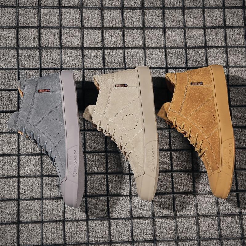 2019 Leather Men Casual Shoes British Style Comfortable Men Fashion Walking Shoes High Top Brown Black Man Soft Flat Footwear