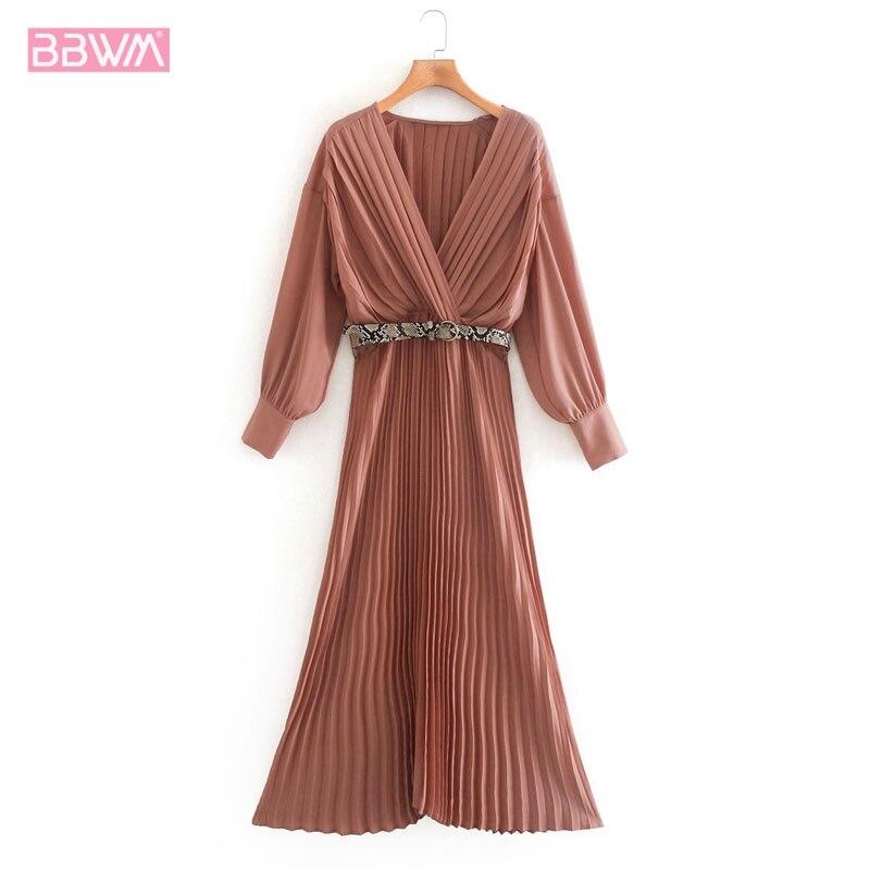 Женское плиссированное платье со змеиным узором, пояс с v-образным вырезом и длинным рукавом, Французский Ретро-мода индивидуальный стиль, ж...