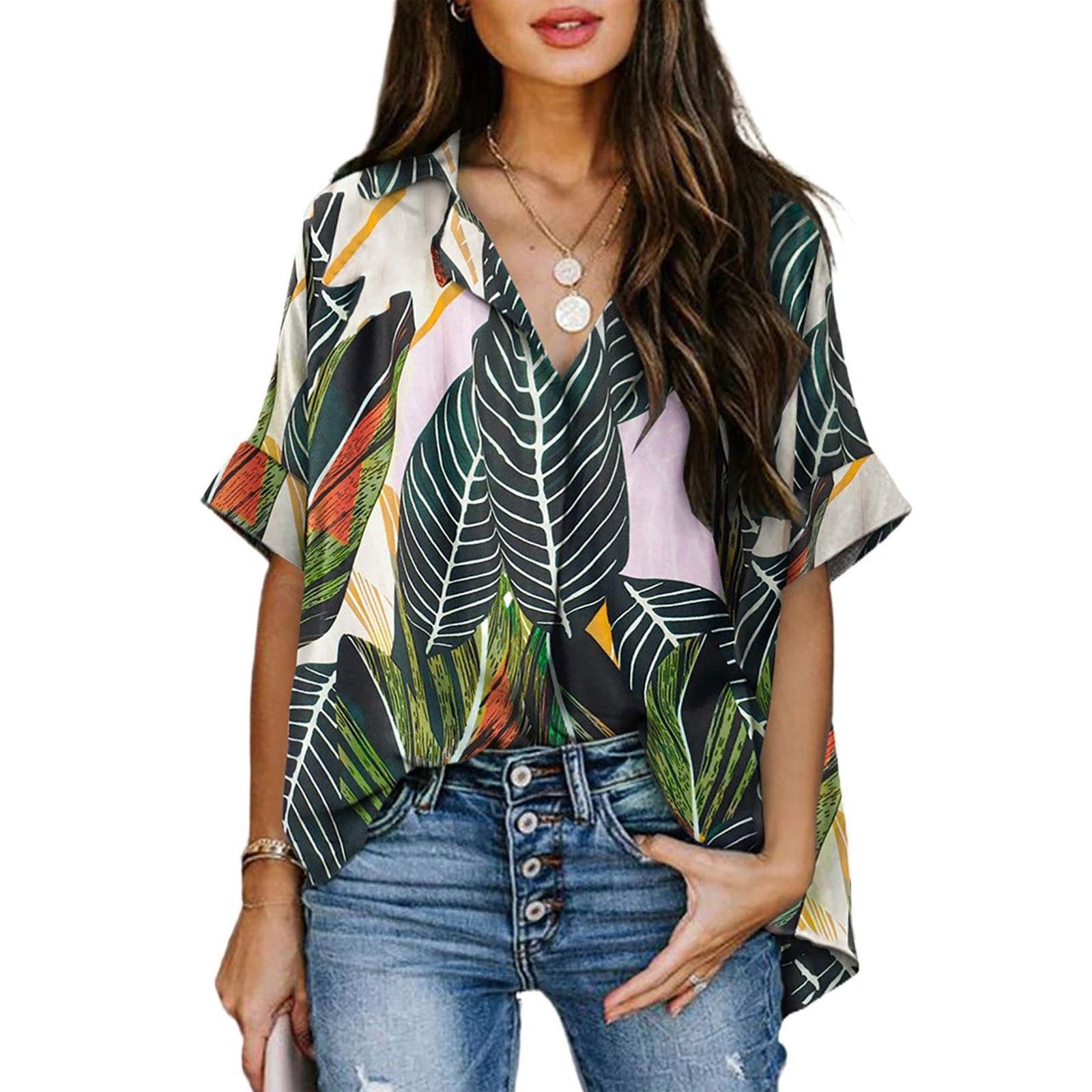 Women Loose Leaves Blouse Summer Woman Casual Chemise Femme Blusas Y Camisas Plus Size Shirts Femme S-xxl