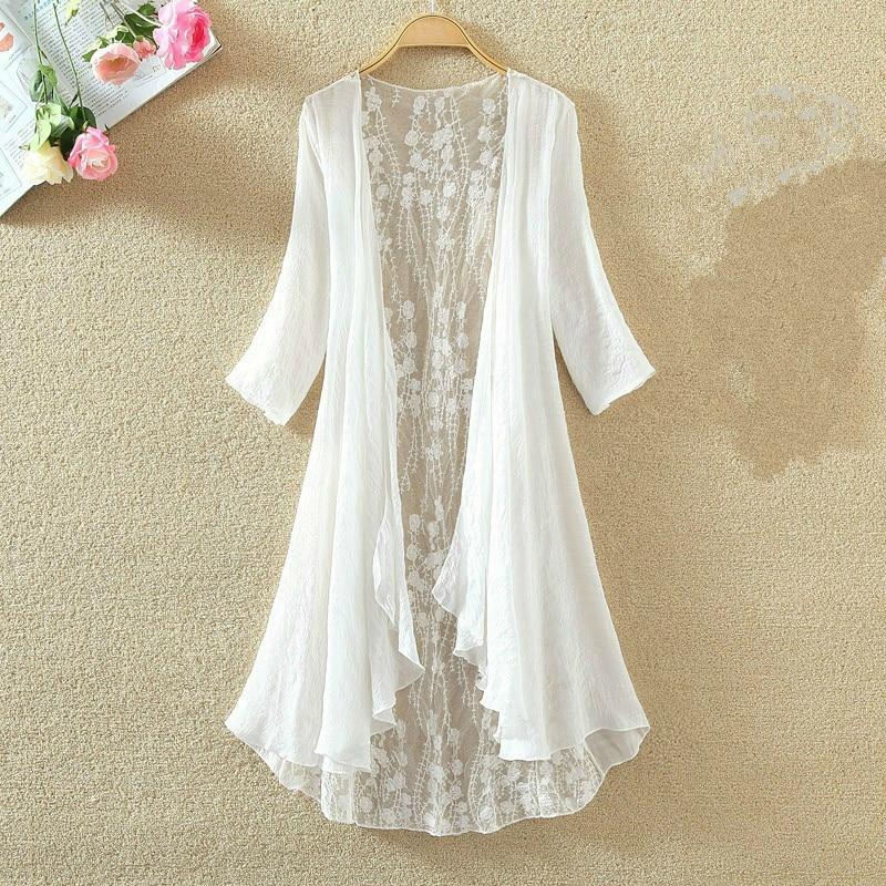 2020 New Women Summer Cotton Linen Blouse Casual Hollow Out Kimono Cardigan Laceshirts Sunscreen Tops Blusas Mujer De Moda cardigan moda di chiara кардиганы длинные