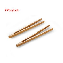 2 teile/los 18cm Bambus Teegeschirr Tee Clips Holz Toast Tong Holz Toaster Bagel Speck Squeezer Zucker Eis Tee Zange Teeklammern    -