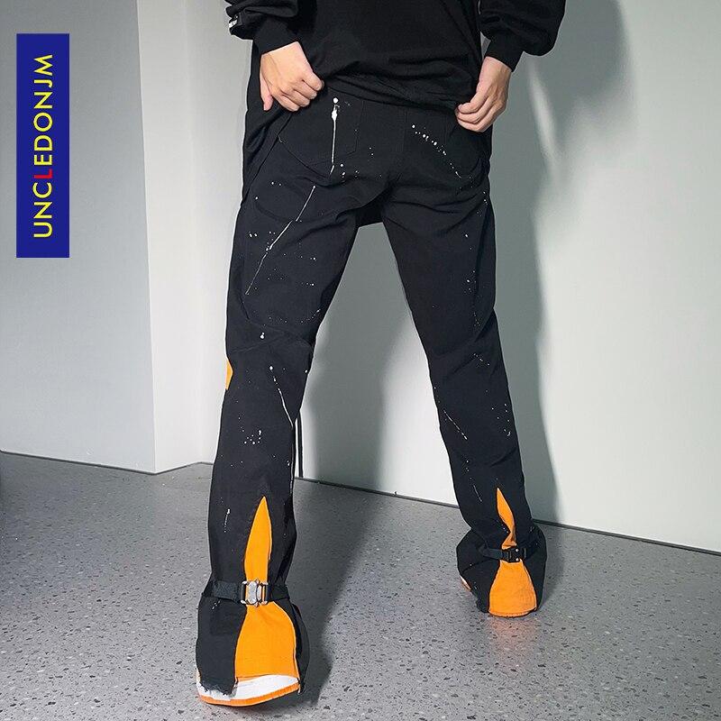 UNCLEDONJM سروال البضائع كتلة اللون الرجال الشارع الشهير مضيئة السراويل الهيب هوب بنطلون harajuku موضة ملابس الهيب هوب للرجال 21055