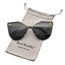 Lunettes de soleil œil de chat pour femmes   Lunettes avec miroir et abeille dorées, marque de luxe, lunettes de soleil tendance sans bords, UV400, 2020
