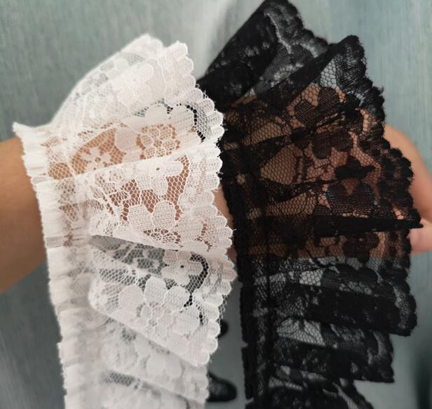 1 yarda 91cm plisado guipur tul lazo Trim 5,5 cm Diy costura en blanco negro vestido de tela de encaje ropa de decoración Crafts V21