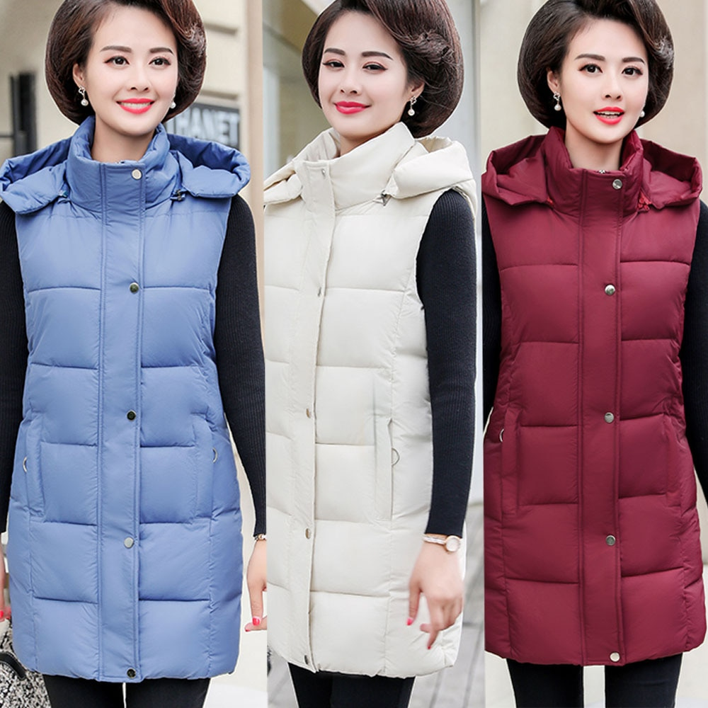 women's vest large size women's tank tops winter long vest for women sleeveless jacket plus size hooded waistcoat white 6 colors
