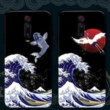 Für Xiaomi Mi 9T Pro 9 Lite CC9 A3 8 SE Mix 3 2s Redmi K30 Hinweis 10 8 7 schwarz Shark 2 Fall Scratch 3D Zeichnung Karpfen Soft Cover