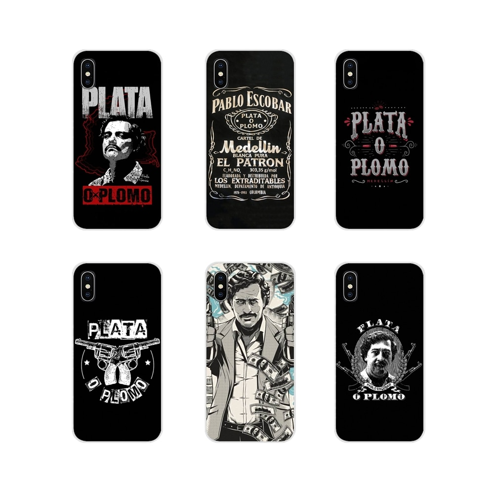 For Samsung A10 A30 A40 A50 A60 A70 M30 Galaxy Note 2 3 4 5 8 9 10 PLUS Narcos Pablo Escobar Silver