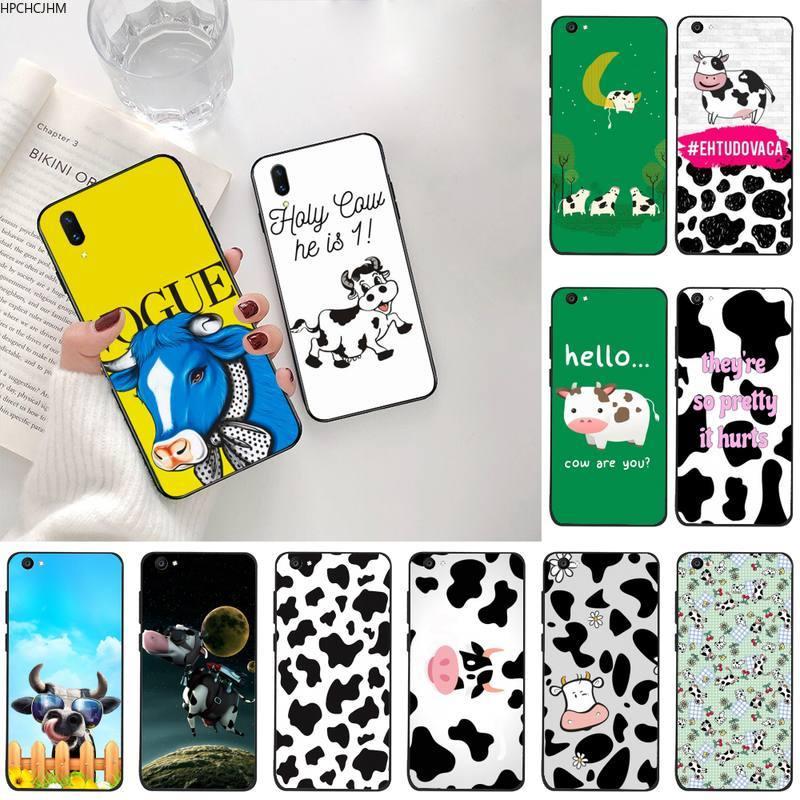 Cow Print Black White Soft Silicone Black Phone Case For Vivo Y91c Y17 Y51 Y67 Y55 Y93 Y81S Y19 V17 vivos5