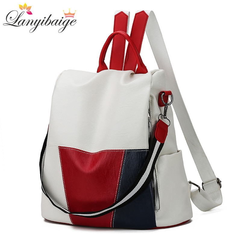 2020 New High Quality Leather Women Backpack Anti-Theft Travel Backpack Large Capacity School Bags f