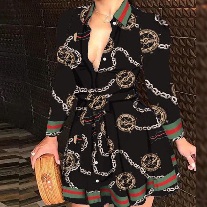 Minivestido Sexy con cuello en V para Mujer, vestido con estampado De...