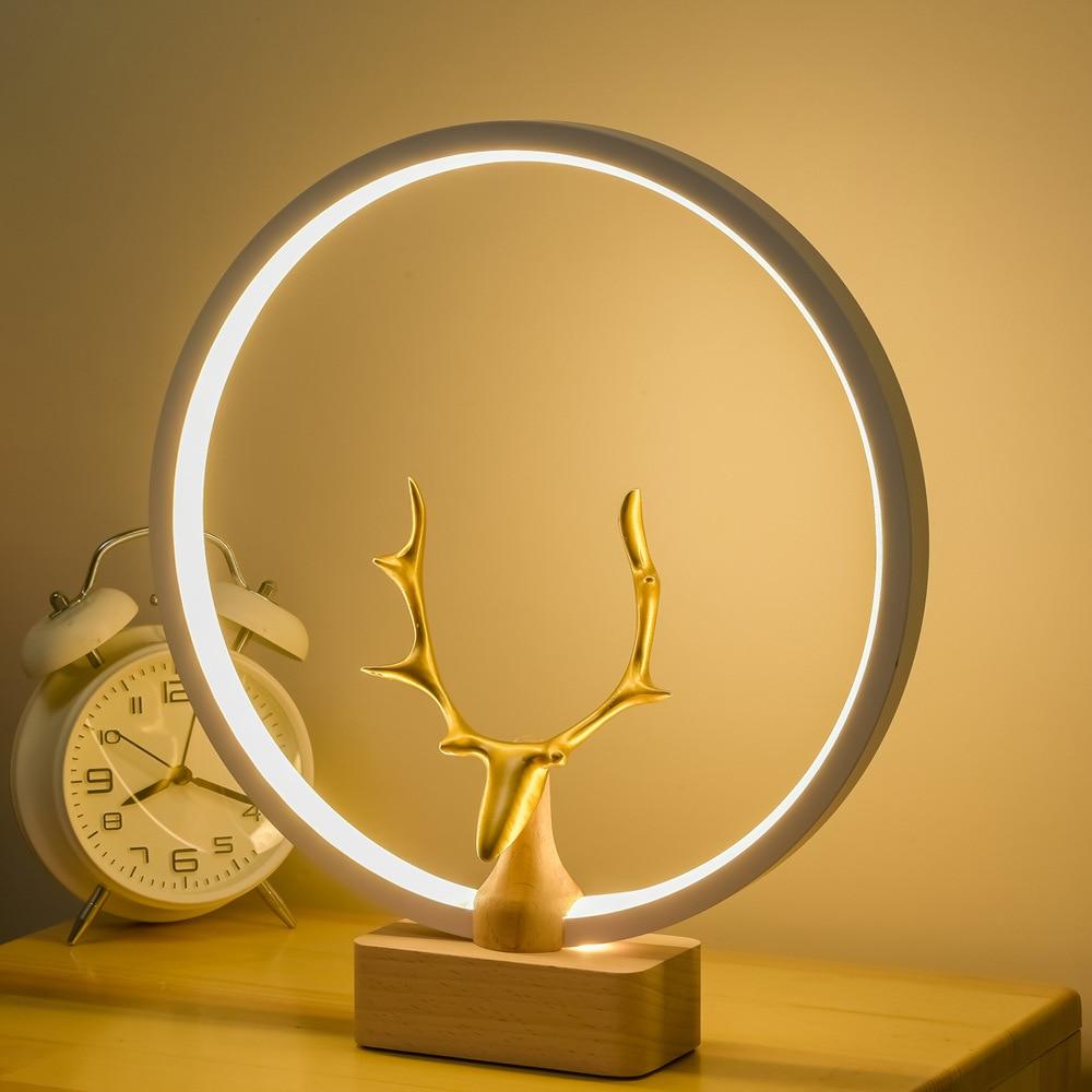 Intelligente Magnetische Balans Tafel Lamp Licht Creatieve Woonkamer Slaapkamer Led Nachtlampje Effen Hout Balans Licht enlarge