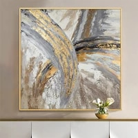 american paintinghand painted gold leaf abstract flowing color light luxury living room sofa backdrop decorative painting