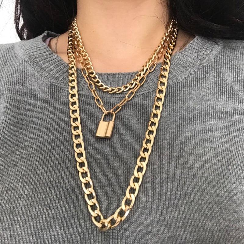 Gold Lock Pendant Necklace Women Men Punk Choker Necklace Rock Multi Layer Big Chain Collier Couple Gift Fashion Jewerly